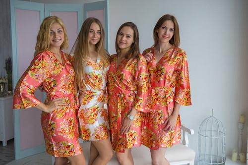 Coral Floral Posy Silk Bridesmaids robes