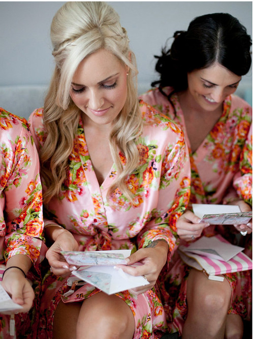 Pinky Peach Floral Posy Silk Bridesmaids robes