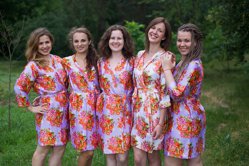 Lilac Floral Posy Silk Bridesmaids robes