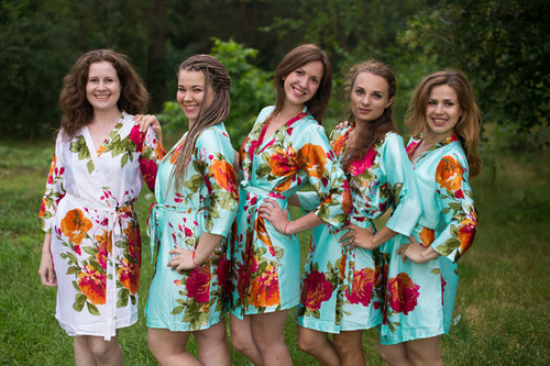 Mint Large Floral Blossom Silk Bridesmaids robes