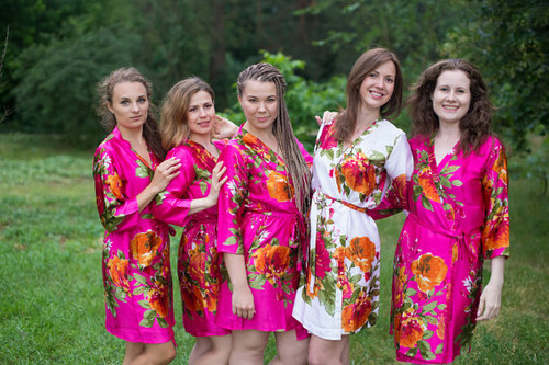 Magenta Large Floral Blossom Silk Bridesmaids robes