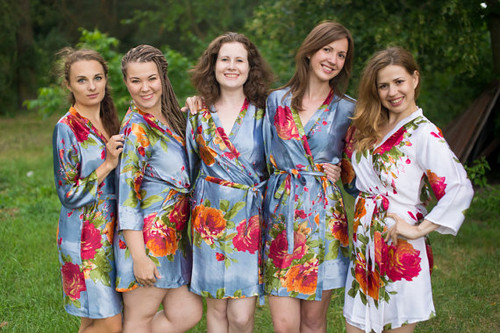 Gray Large Floral Blossom Silk Bridesmaids robes