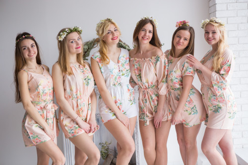 Mismatched Bridesmaids Rompers in Blush Dreamy Angel Song Pattern