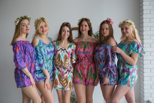 Mismatched Bridesmaids Rompers in Ikat Aztec Pattern