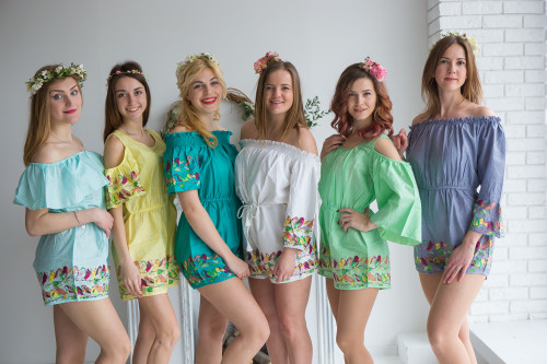 Mismatched Bridesmaids Rompers in Little Chirpies Pattern