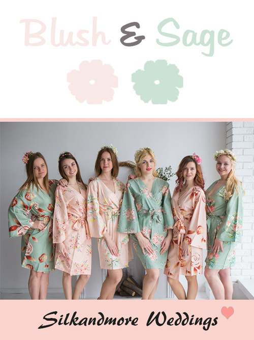 Blush and Sage Wedding Color Robes - Premium Rayon Collection