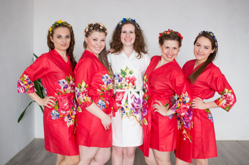 Red One long flower pattern Robes for bridesmaids | Getting Ready Bridal Robes