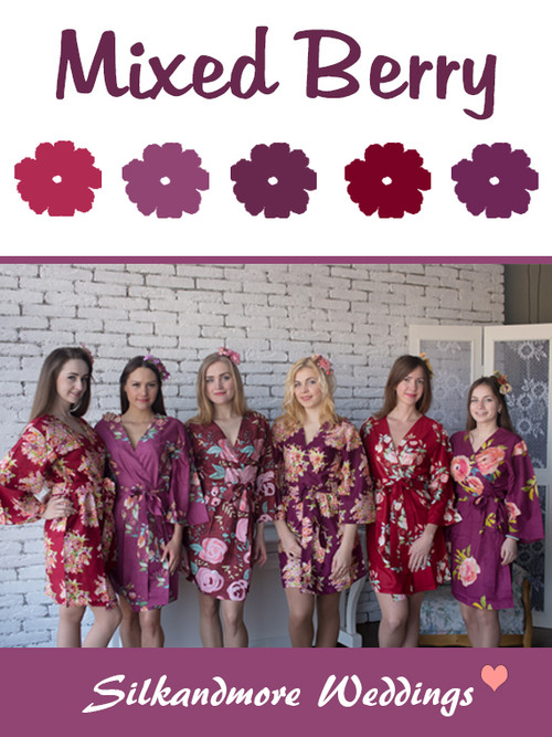 Mixed Berry Wedding Color Robes - Premium Rayon Collection