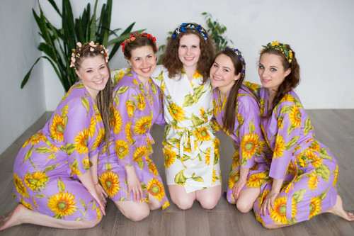 Lilac Sunflower Robes for bridesmaids | Getting Ready Bridal Robes
