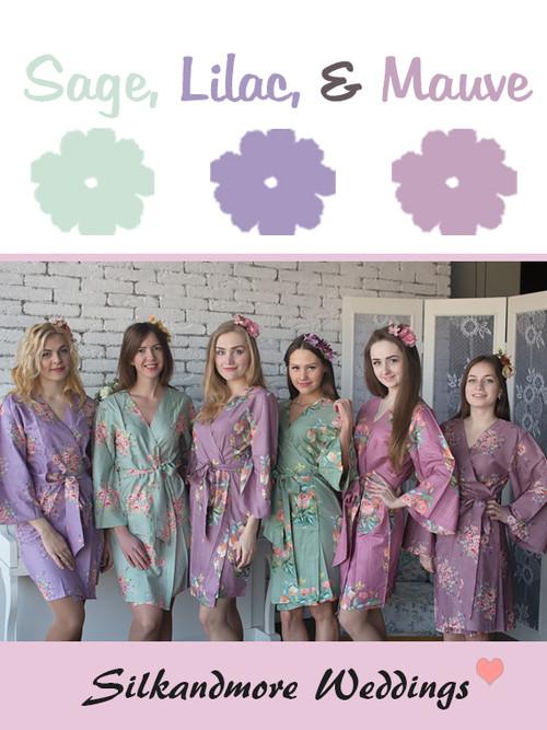 Sage, Lilac and Mauve Wedding Color Robes - Premium Rayon Collection