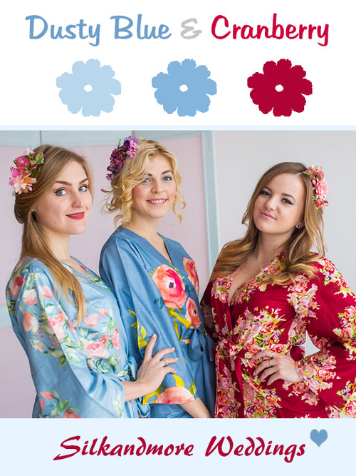 Dusty Blue and Cranberry Wedding Color Robes- Premium Rayon Collection