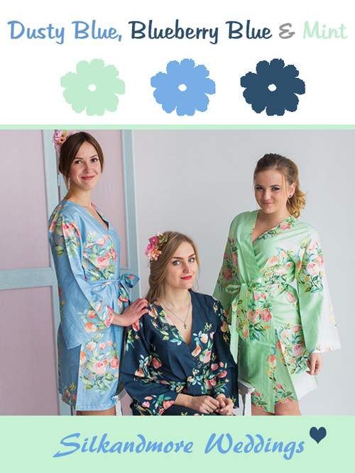 Dusty Blue, Blueberry Blue and Mint Wedding Color Robes- Premium Rayon Collection