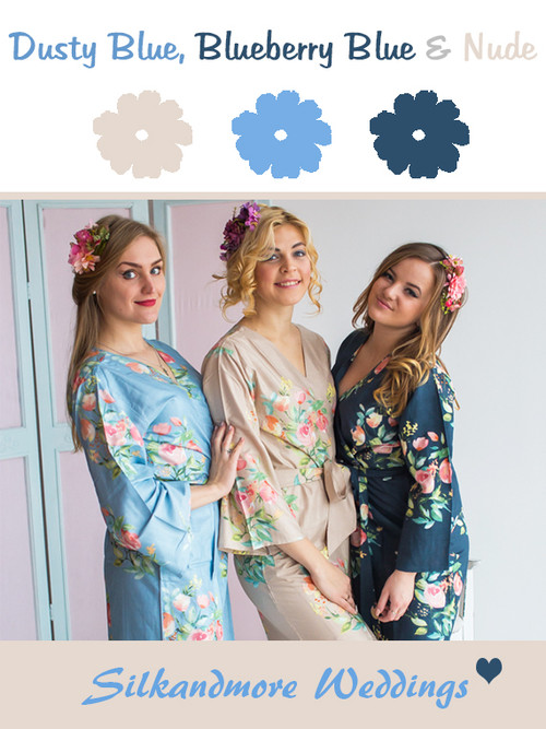 Dusty Blue, Blueberry Blue and Nude Wedding Color Robes- Premium Rayon Collection