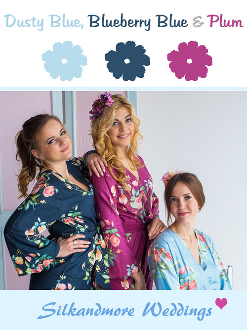 Dusty Blue, Blueberry Blue and Plum Wedding Color Robes- Premium Rayon Collection