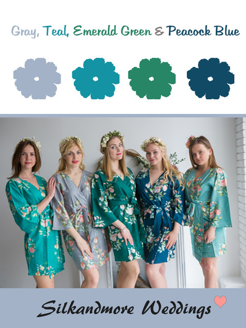 Gray, Teal, Emerald Green and Peacock Blue Wedding Color Robes- Premium Rayon Collection