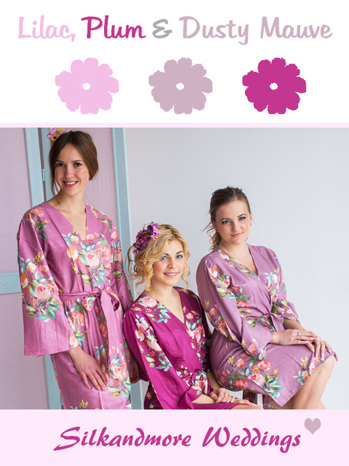 Lilac, Plum and Dusty Mauve Wedding Color Robes- Premium Rayon Collection