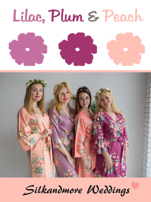 Lilac, Plum and Peach Wedding Color Robes- Premium Rayon Collection