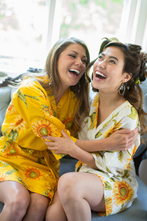 Yellow Sunflower Robes for bridesmaids   Getting Ready Bridal Robes