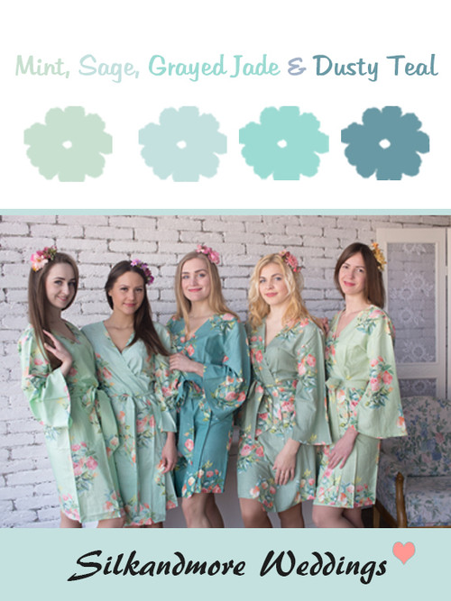 Mint, Sage, Grayed Jade and Dusty Teal Wedding Color Robes- Premium Rayon