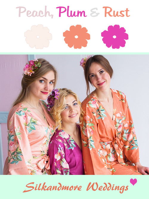 Peach, Plum and Rust Wedding Color Robes- Premium Rayon Collection
