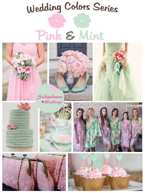 Mint teal and dusty pink wedding color palette robes by silkandmore pink and mint wedding color palette junglespirit