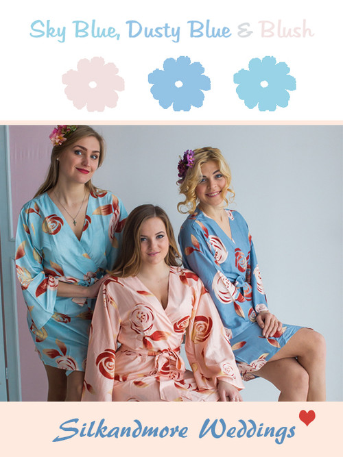 Sky Blue, Dusty Blue and Blush Wedding Color Robes- Premium Rayon Collection
