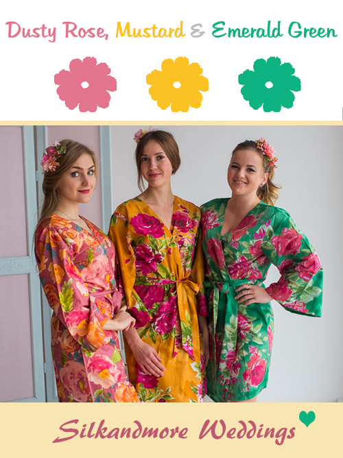 Dusty Rose, Mustard and Emerald Green Wedding Color Robes- Premium Rayon Collection