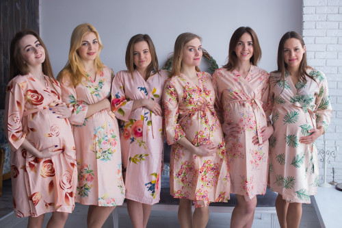 Mommies in Blush Floral Robes