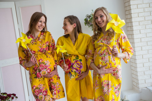 Mommies in Bright Yellow Floral Robes