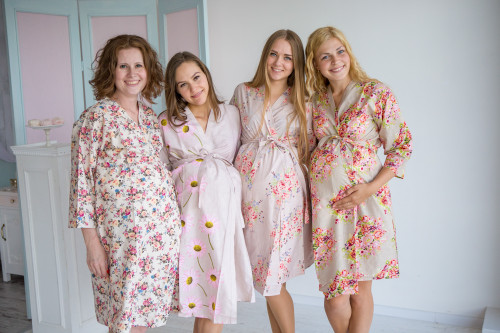 Mommies in Champagne Floral Robes