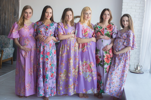 Mommies in Lilac Maternity Kaftans