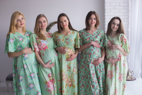 Mommies in Mint Maternity Caftans