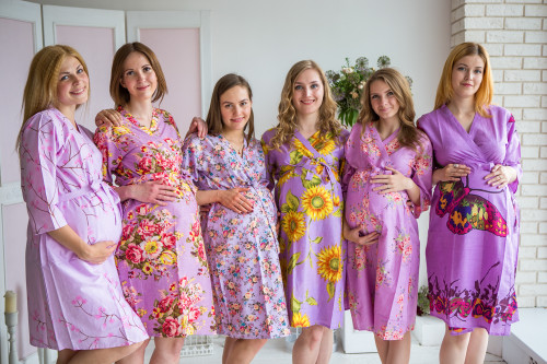 Mommies in Lavender Floral Robes