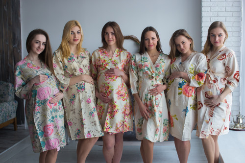 Mommies in Cream Floral Robes