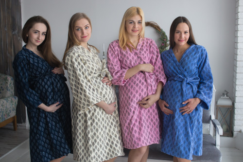 Mommies in Terry Cloth Block Print Robes