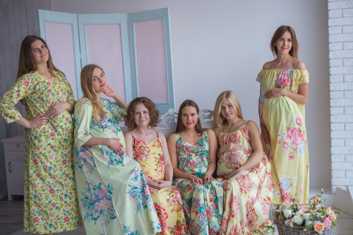Mommies in Light yellow Floral Night Gowns