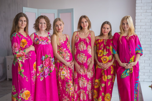 Mommies in Magenta Floral Night Gowns