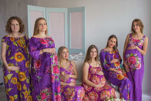 Mommies in Purple Floral Night Gowns