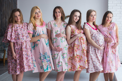 Soft Pink Floral Birthing Gowns