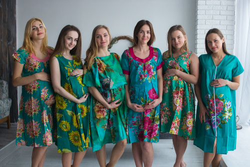 Teal Floral Birthing Gowns
