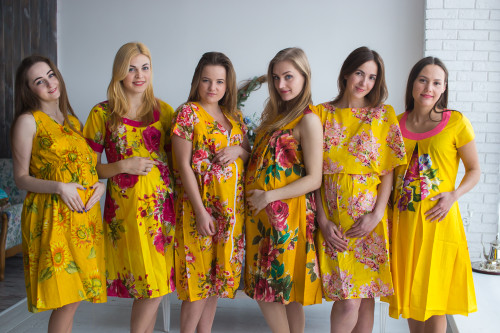 Yellow Floral Birthing Gowns