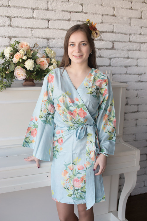 Dreamy Angel Song Pattern- Premium Light Blue Bridesmaids Robes