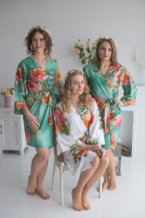 Sage Large Floral Blossom Robes for bridesmaids   Getting Ready Bridal Robes