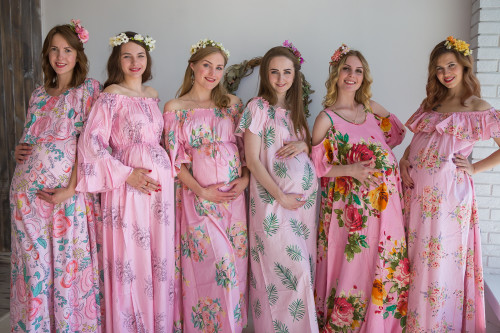 Mommies in Pink Floral Maxi Dresses