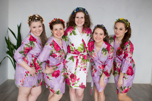 Lilac Large Fuchsia Floral Blossoms Robes for bridesmaids | Getting Ready Bridal Robes
