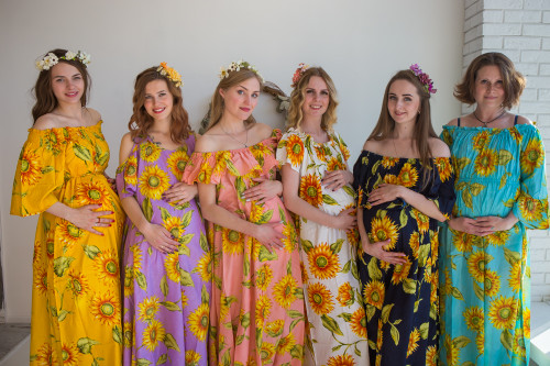 Mommies in Sunflower Maxi Dresses