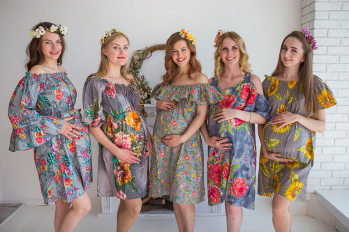 Mommies in Gray Floral Shift Dresses