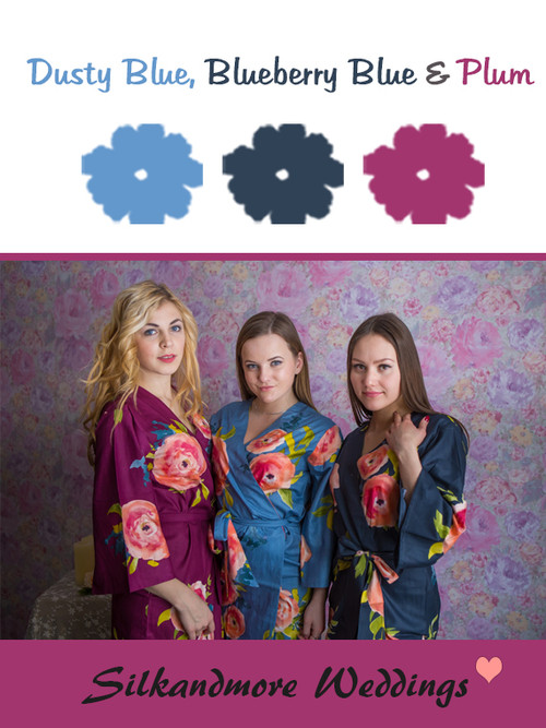Dusty Blue, Blueberry and Plum Wedding Color Robes - Premium Rayon Collection