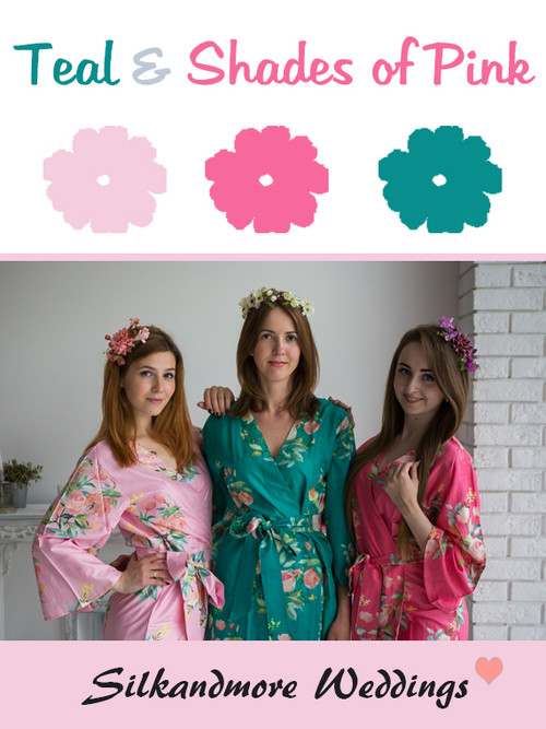 Teal and Shades of Pink Wedding Color Robes - Premium Rayon Collection