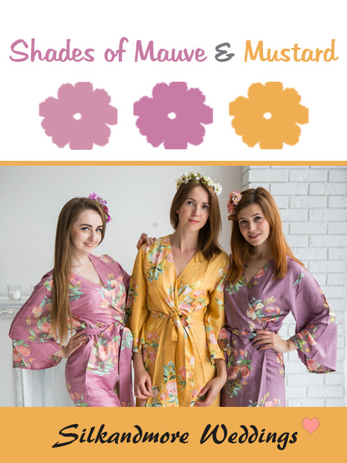 Shades of Mauve and Mustard Wedding Color Robes - Premium Rayon Collection
